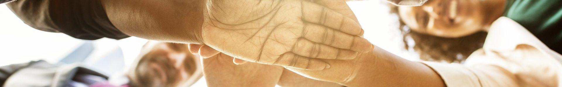 Gens hommes femmes se serrant la main dehors au soleil